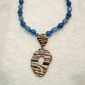 Jewelry - Blue and Gold tone Statement Necklace